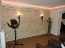 Deckenprofilleisten für indirekte Beleuchtung, Wandverkleidung mit Steinklinker